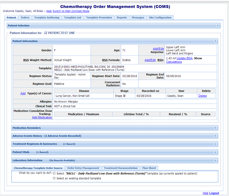 Dbitpro software development company for Chemotherapy order templates